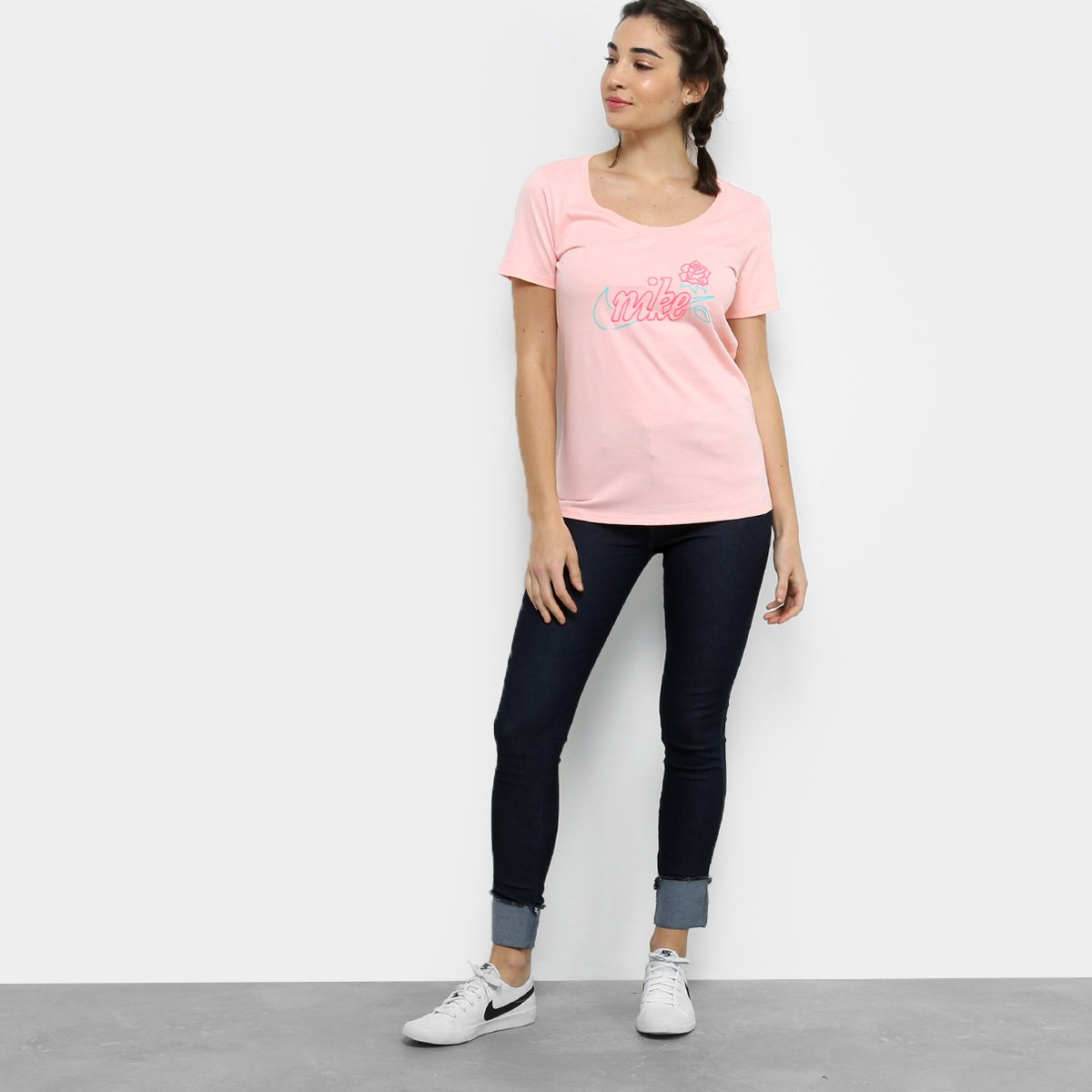 Camiseta Rosa Apla Feminina Scoop Camiseta Nike Nike Art OXgq50nW