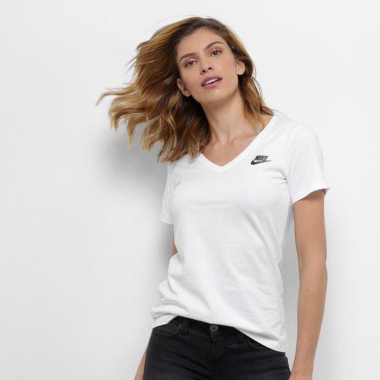Camiseta Nike W Nsw Vneck Lbr Feminina - Branco+Preto
