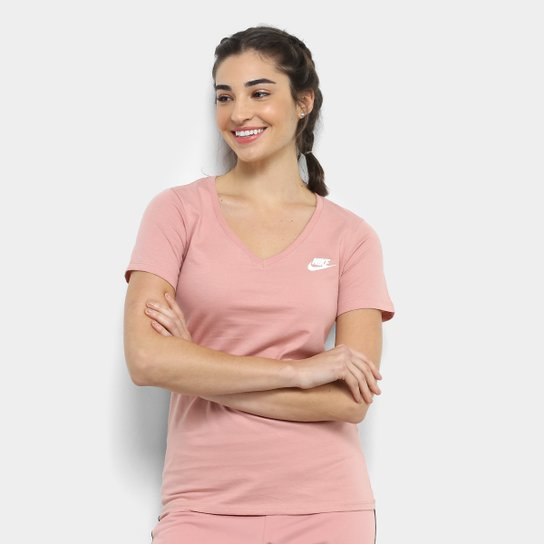 Camiseta Nike W Nsw Vneck Lbr Feminina - Rosa