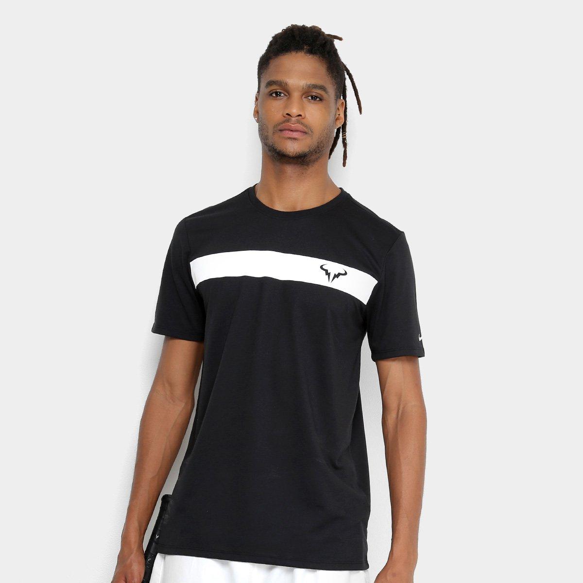 6e862e0de8 Camiseta NikeCourt Dry Rafa Masculina - Preto e Branco - Compre ...