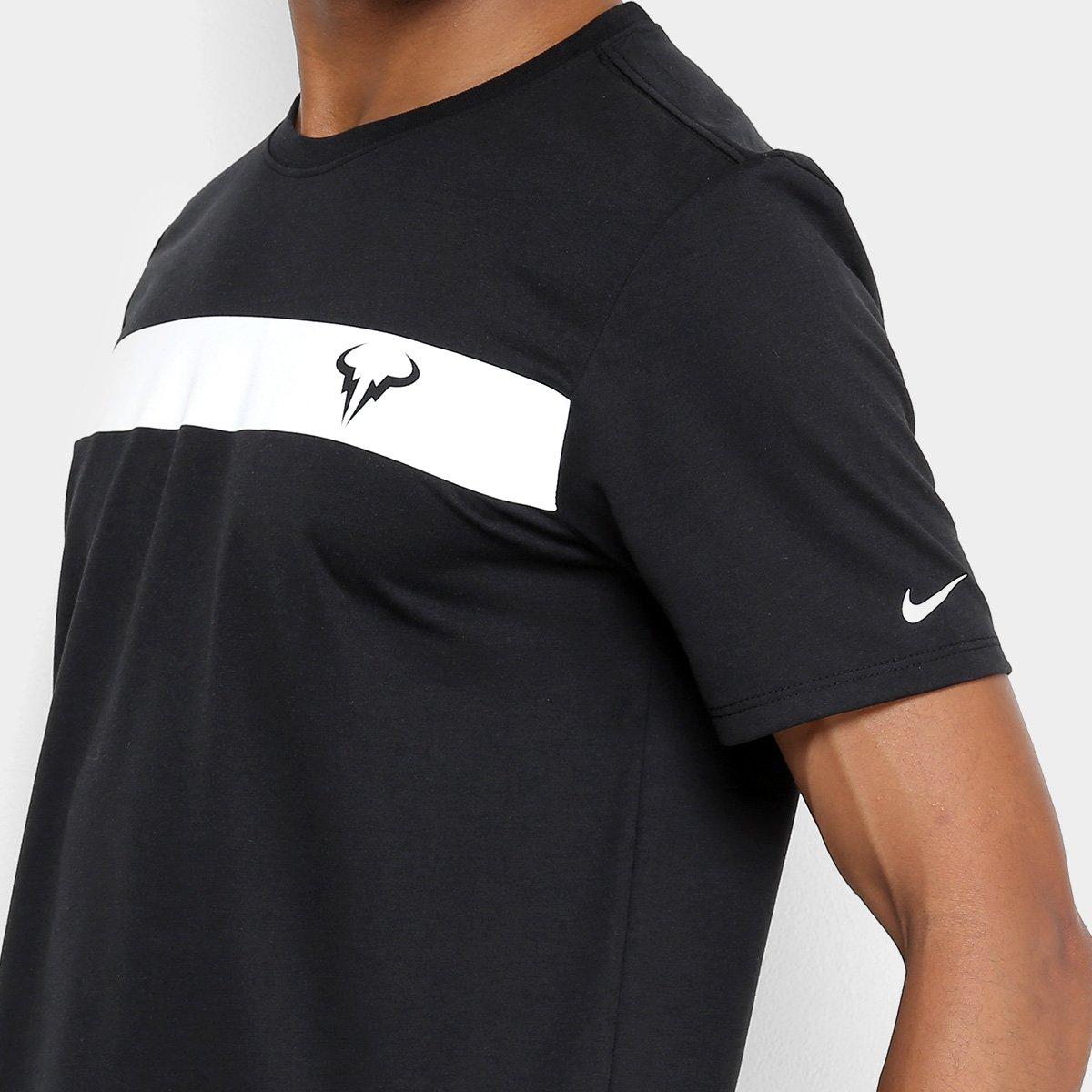 Camiseta NikeCourt Dry Rafa Masculina - Preto e Branco - Compre ... ce9b55d8ec524