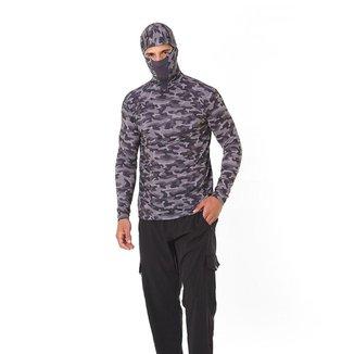 Camiseta Ninja Camuflada Urbano Uv50+ Para Pesca e Esportes