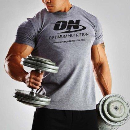 Camiseta ON Optimum Nutrition Fitness e Musculação -