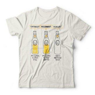 Camiseta Otimista Pessimista Realista