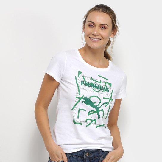 Camiseta Palmeiras Graphic Puma Feminina - Branco+Verde