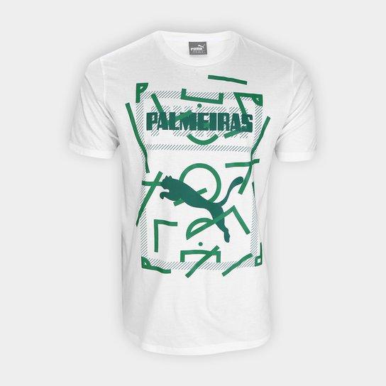Camiseta Palmeiras Graphic Puma Masculina - Branco+Verde