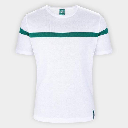 Camiseta Palmeiras Malha Masculina - Branco+Verde