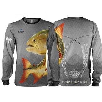 Camiseta Pesca Quisty Dourado Rei do Rio Proteção UV Dryfit Infantil