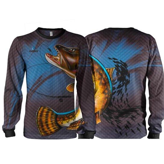 Camiseta Pesca Quisty Traíra Proteção UV Dryfit Adulto - Azul