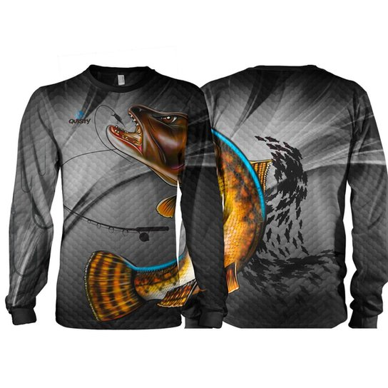Camiseta Pesca Quisty Traíra Proteção UV Dryfit Adulto - Cinza