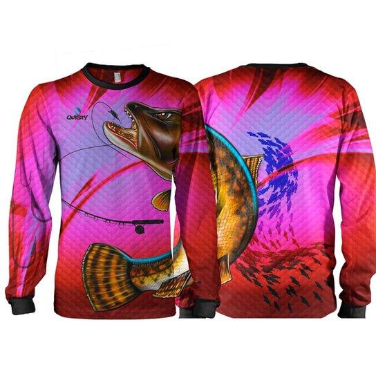 Camiseta Pesca Quisty Traíra Proteção UV Dryfit Adulto - Pink