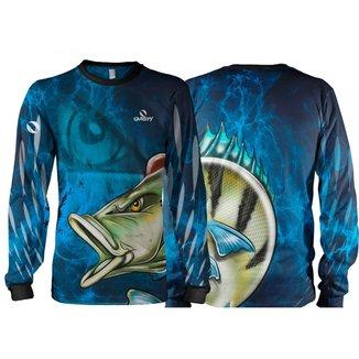 Camiseta Pesca Quisty Tucunaré Azul Proteção UV Dryfit Adulto