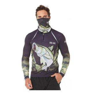 Camiseta Pesca Robalo + Bandana Buff Robalo Oro Adventure Proteção UV50+ Tecnologia Dry - Tamanho GG