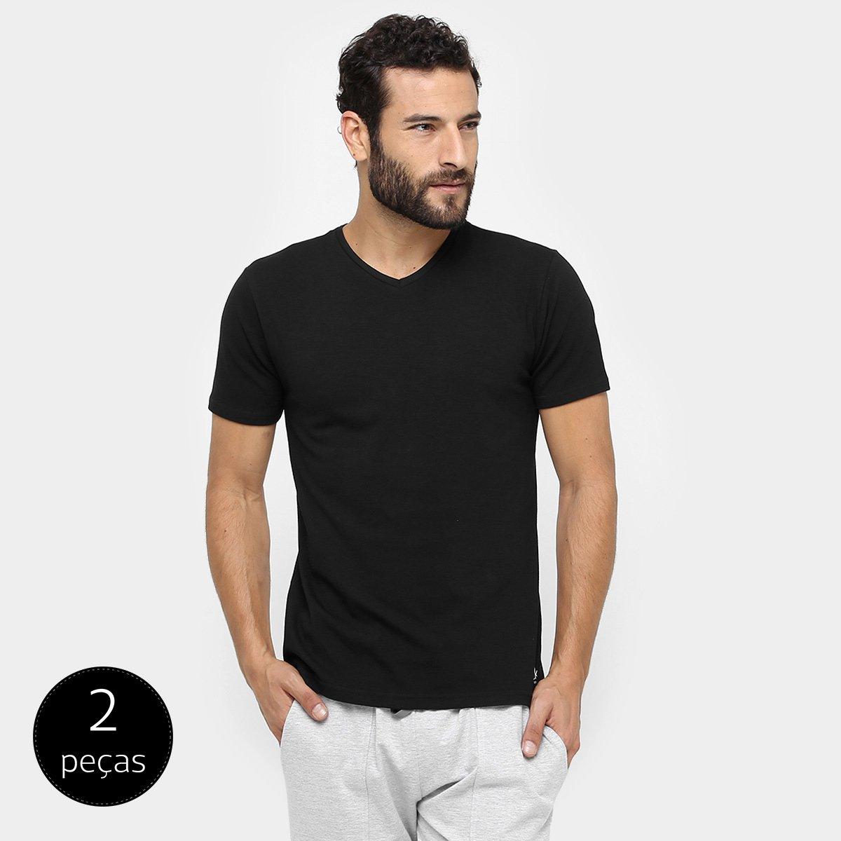 bf8c307b2f887 ... Camiseta Pijama Calvin Klein Gola V 2 Peças - Preto. ZATTINI  ZATTINI