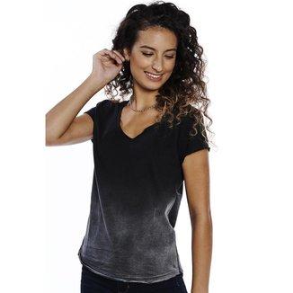 Camiseta Pina Colada Baby Look Barra Degradê Feminina