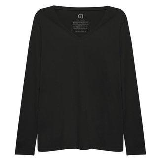 Camiseta Plus Size Basicamente Reta Gola V Manga Longa  Feminina
