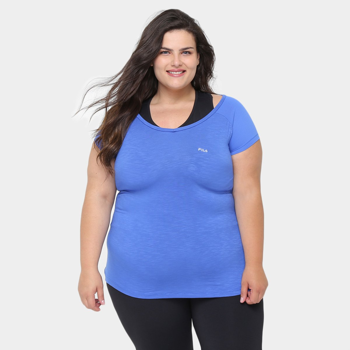 Azul Camiseta Plus Fila Match Fila Feminina Match Size Camiseta Size Plus rqrvp