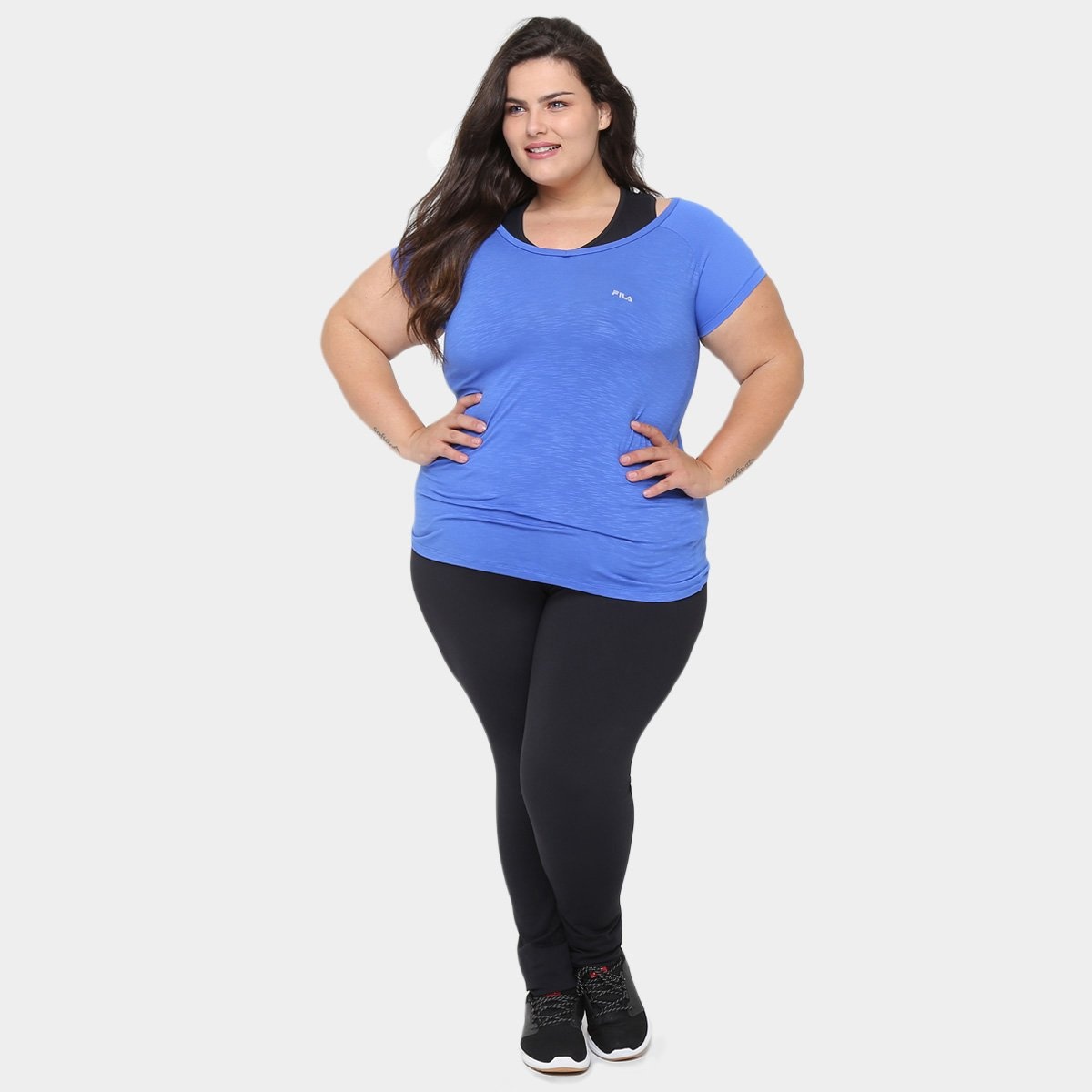 Fila Size Size Plus Camiseta Fila Match Azul Feminina Plus Camiseta Crwr5aAcqx