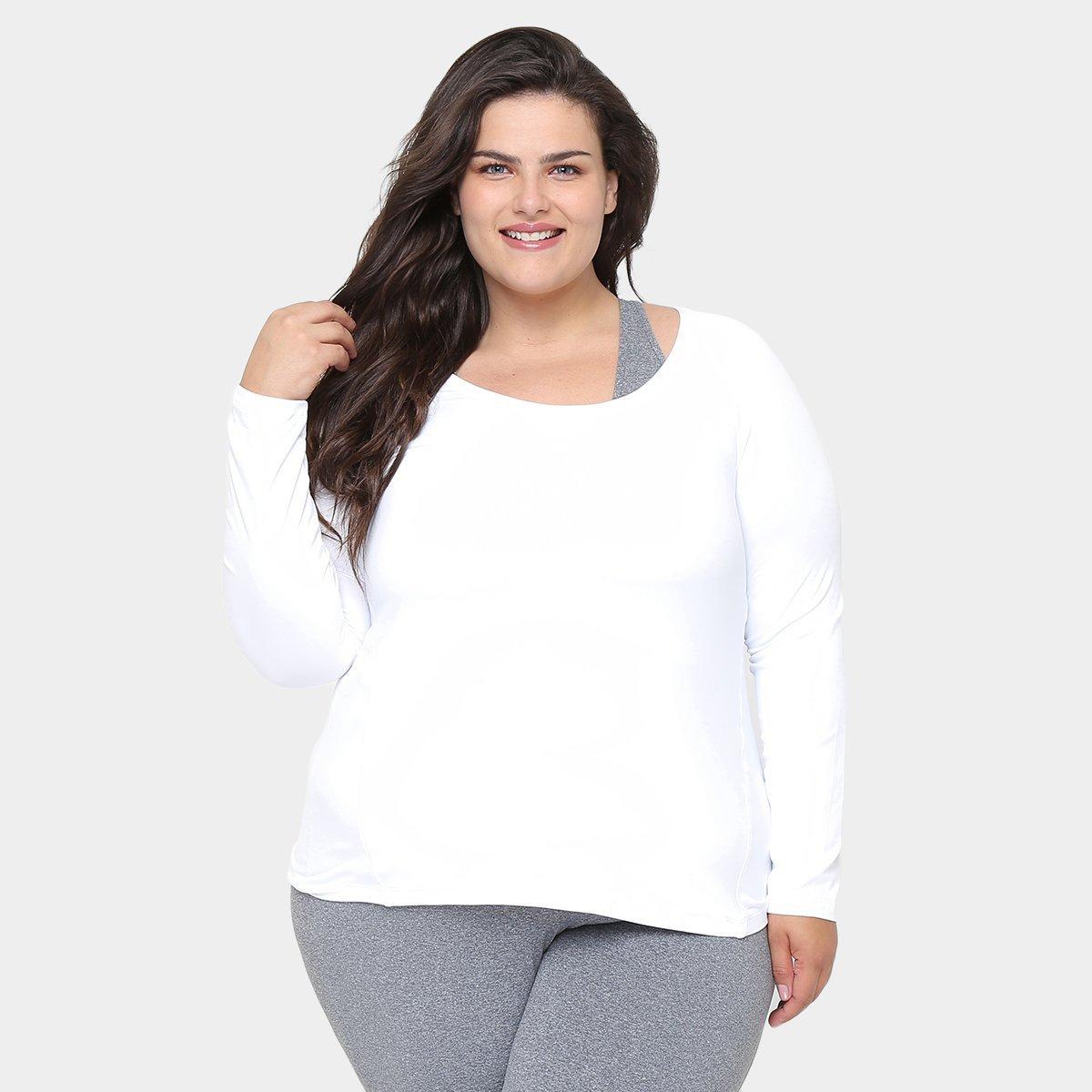 88ac21b73f Camiseta Plus Size GONEW Manga Longa Feminina