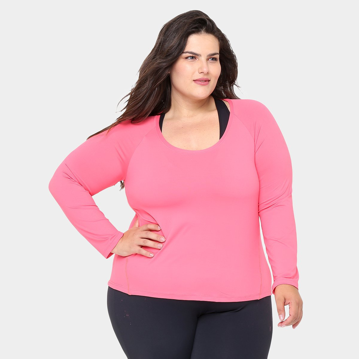 Camiseta Claro Manga Feminina Longa Plus Rosa Camiseta GONEW Plus Size wzxqrB7zX