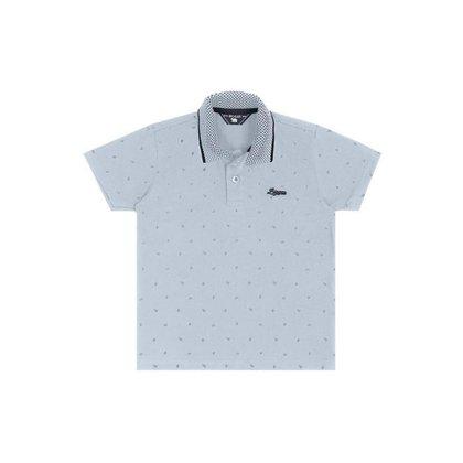 Camiseta polo infantil estampa de folhas Biogás - Azul claro - 1