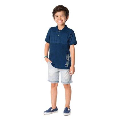 Camiseta Polo Infantil Masculina Estampa Lettering - AZUL - 4