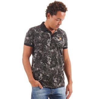 Camiseta Polo Masculina Estampa Floral Gangster - PRETO - M