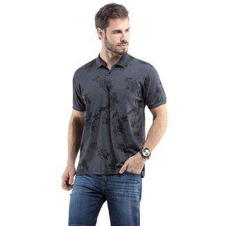 Camiseta Polo Masculina Estampa Folhagem Malhas Treze  - AZUL - G