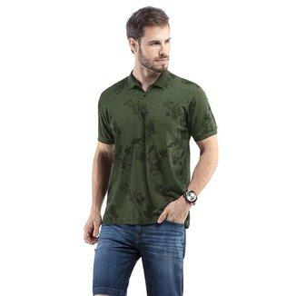 Camiseta Polo Masculina Estampa Folhagem Malhas Treze  - VERDE - M