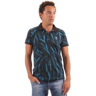Camiseta Polo Masculina Estampa Folhas Gangster - VERMELHO - GG