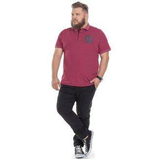 Camiseta Polo Plus Size Masculina com Bolso - VINHO - G3