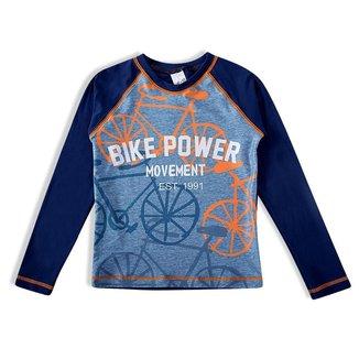 Camiseta Praia Infantil Tip Top Com Proteção UV Estampa Bike