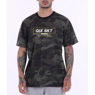 Camiseta Print Qix Neon Logo Camuflada