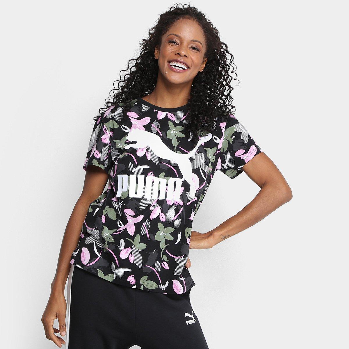 Camiseta Logo Feminina Classics Puma Camiseta Puma Preto AOP Classics wqTEfqpF