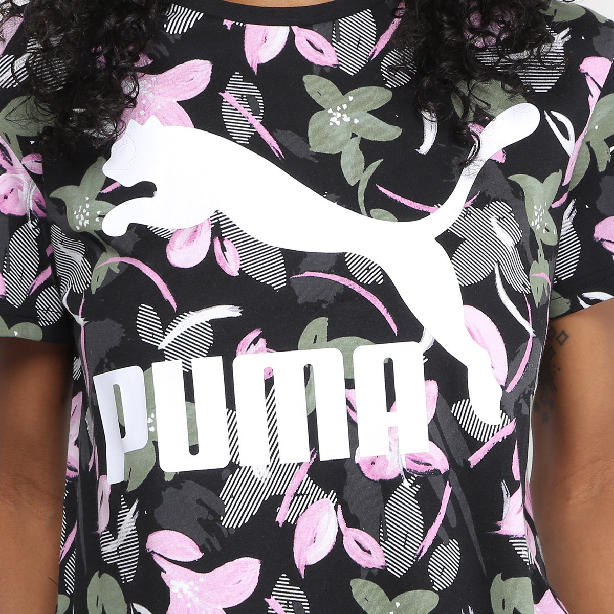 Preto Logo Classics Camiseta Puma Camiseta AOP Puma Feminina vqR870