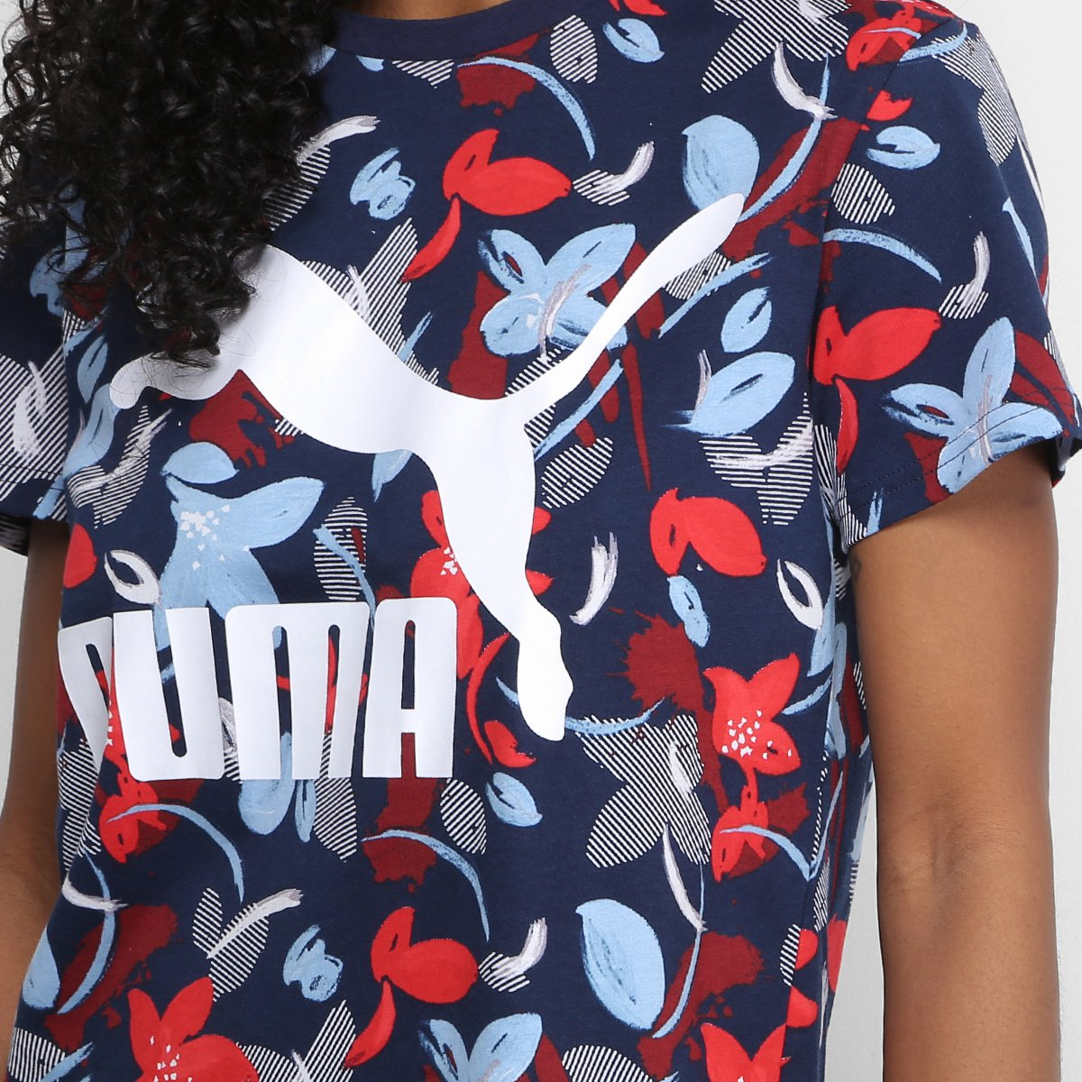 Logo AOP Puma Camiseta Classics Puma Feminina Camiseta Marinho qwfgxTTUaC