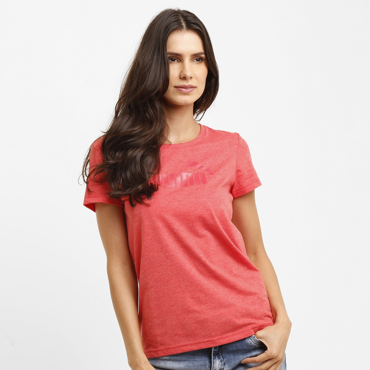 0324e878af Camiseta Puma Ess Large Logo Heather Tee - Compre Agora