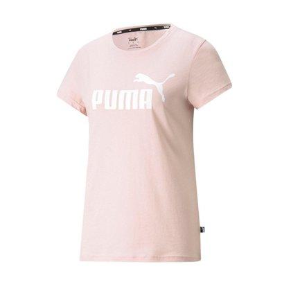 Camiseta Puma Ess Logo Feminina - Rosa Claro