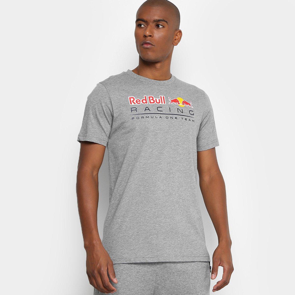 fff062bc825f6 Camiseta Puma Logo Red Bull Racing Masculina - Cinza e Branco - Compre Agora
