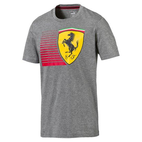 Camiseta Puma Scuderia Ferrari Big Shield Tee Masculina - Cinza