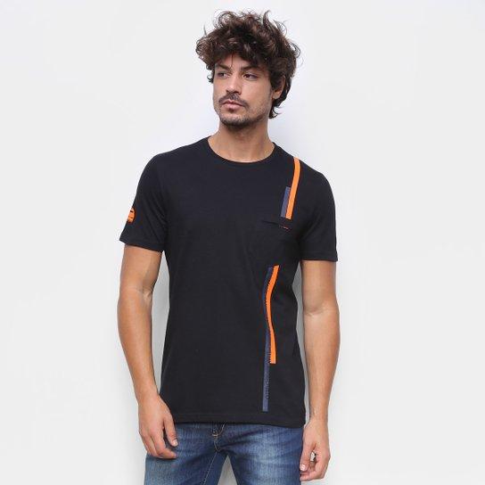 Camiseta RB111 Lap Rubens Barrichello Pocket Masculina - Preto
