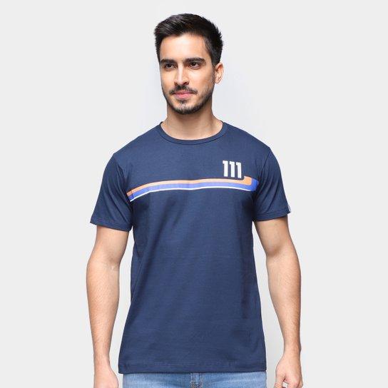 Camiseta RB111 Rubens Barrichello Round Masculina - Marinho
