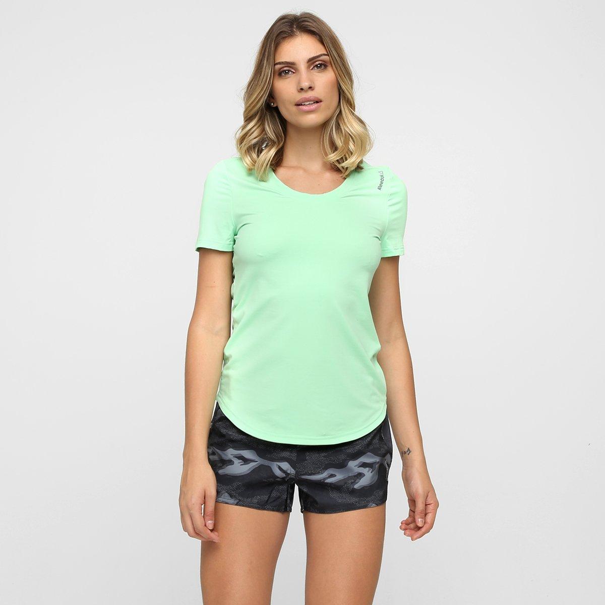 Feminina Camiseta Feminina Reebok claro Pd Verde Wor Camiseta Pd Reebok Wor Verde BAxwB7z