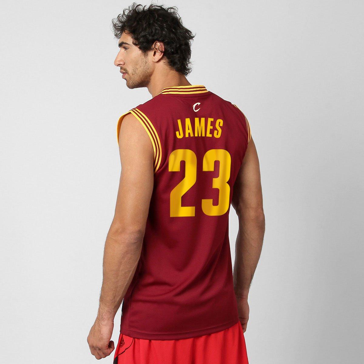 rojo Viento Firmar  Camiseta Regata Adidas Cleveland Cavaliers Road nº 23 - James | Netshoes