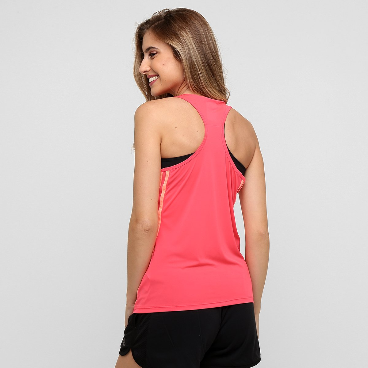 Camiseta Regata Adidas Ess Clima 3S LW Feminina - Rosa - Compre ... a12812616937b