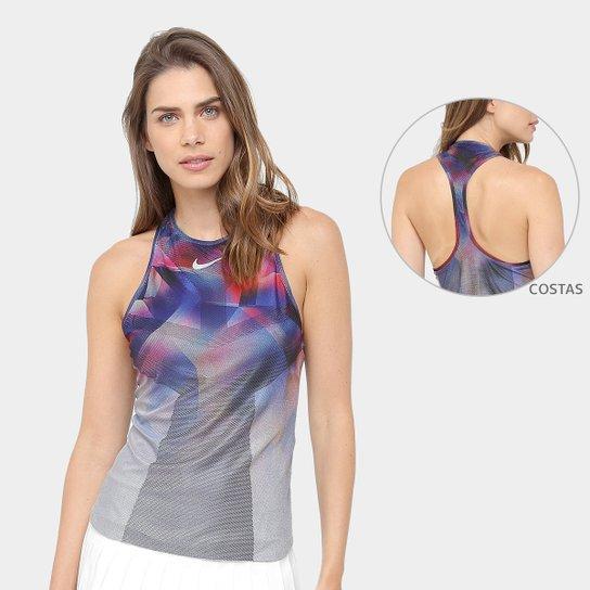 Camiseta Regata Dry Nike US NT Feminina - Grafite+Azul