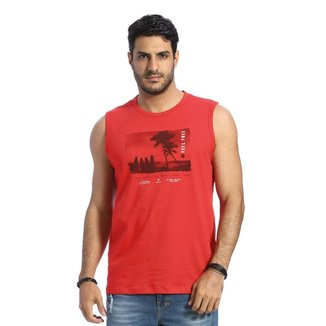 Camiseta Regata Machão VLCS Gola Redonda Vermelha