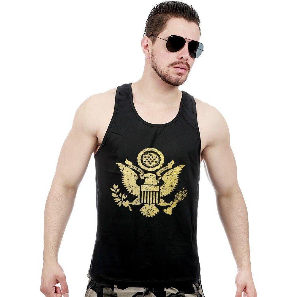 f4b27d6109 Camiseta Regata Militar EUA Justice United States Gold Line