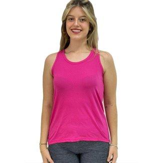Camiseta Regata Nadador Academia Feminina Dry Fit Furadinho Gatto Pink