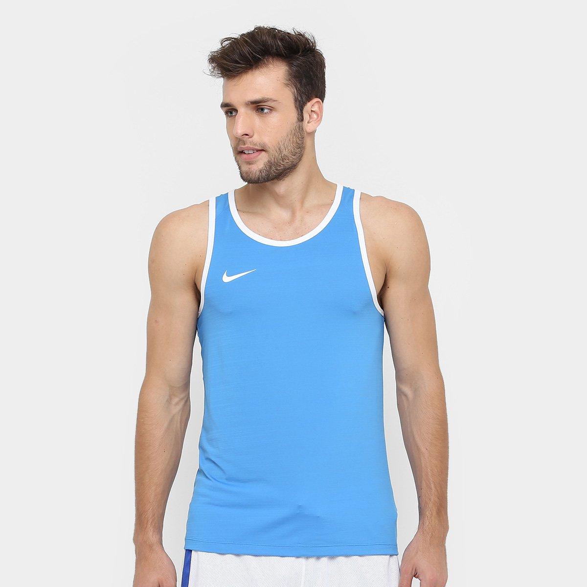 e1b569b72c6f9 Camiseta Regata Nike SL Crossover - Azul e Branco - Compre Agora ...